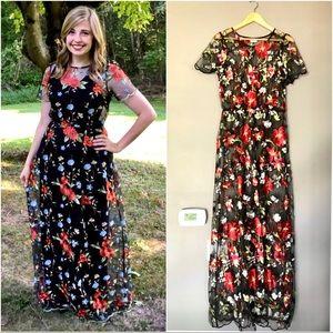LuLaRoe Deanna II 2 Lace Overlay Embroidered Dress